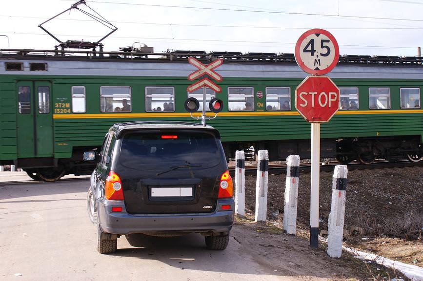 Железнодорожный переезд и знаки на нем